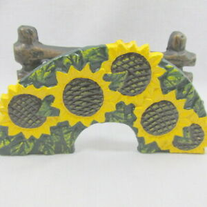 Napkin Letter Holder Sunflowers Cast Metal Fence Painted Yellow Black Collect