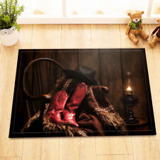 Western Cowboy Boot Oil Lamps Non-Slip Bathroom Mat Home Decor Door Rug Carpet
