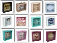 Glass Money Box Savings Coin Panel Frame various Prosecco holiday GREAT GIFT