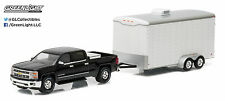 1:64 GreenLight *Hitch & Tow* Black 2015 Silverado w/White Enclosed Car Trailer