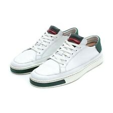 GUCCI White Leather Sneakers with Python Skin Green / Red Logo