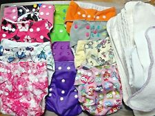 New Listing12 Cloth Diapers with snaps, 17 inserts. Lalabye Baby, Alva girl patterns, owls