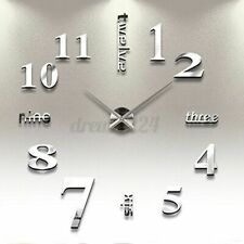 Stick On Wall Clock DIY Large Modern Design Decal 3D Stickers GYM Cafe Offi