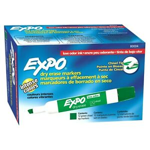 80004 Expo Low Odor Dry Erase Whiteboard Marker, Chisel Tip, Green, Pack of 144