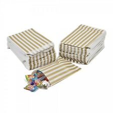 "100 GOLD CANDY STRIPE PAPER PARTY GIFT SWEET BAGS 5"" x 7"" - CANDY CART CHRISTMAS"