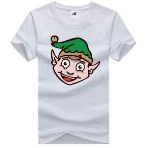 Mens Santa Claus Xmas Printed T Shirt Boys Short Sleeve Novelty Party Top Tees