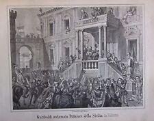 1862 PALERMO GARIBALDI ACCLAMATO DITTATORE litografia Terzaghi Spedizione Mille