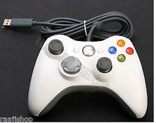 Nuevo Blanco Wired Controller Para Microsoft Xbox 360 Pc Laptop vendedor Reino Unido