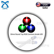 50pcs 10mm RGB Tri-Color Light Diffused Round Top Common Anode LED Diodes