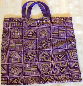 New Handmade Reusable Fabric Cloth SMALL TOTE BAG: Gift, Book, Lunch PURPLE BACK