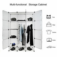 8 / 12 Cubes Plastic Closet Cabinet Storage Shelves with Doors modular organizer