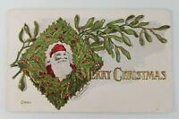 Postcard Merry Christmas Santa Wreath 1907