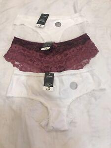Ladies Panties Short Pants Lingerie French Knicker UK 12/EUR40(2White&1Burgundy)