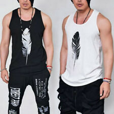 Summer Mens Sleeveless Tank Top T-shirt Singlets Vest Feather Print Tee Tops Hot
