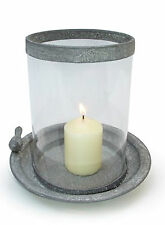 Vintage Style Garden Candle Holder Zinc Metal Glass with Bird -Wedding Party NEW