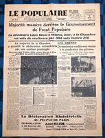 La Une Du Journal Le Populaire Dimanche 7 Juin 1936 Le Front Populaire