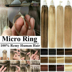 """14""""-26"""" Micro Loop Ring Beads Russian Remy Human Hair Extensions Pre Bonded 100s"""