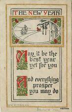 1913 Arts & Crafts New Years Saying SHEAHAN Gilt Edge Postcard 2662