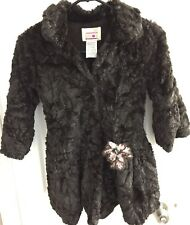 Girl Pluot Brown Faux Fur Winter Dress Coat Size 6 Boutique
