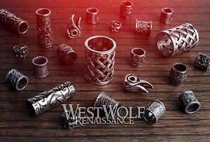 Large Silver Viking Beard Beads --- Norse/Raven Skull/Cross/Braid/Knot/Necklace