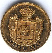Portugal 10.000 Reis 1879 or Louis J'ai @ Très Belle @