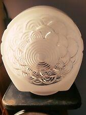 Vintage Art Deco Milk Glass Lamp Light Fixture Sconce Shade Globe FLOWER DESIGN