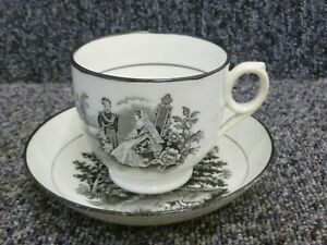 Antique Queen Victoria & Albert Pottery Cup & Saucer Black Transfer 19th Century