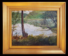 Listed Artist, John N. Stewart, Landscape Painting, Loire Valley Pond, France
