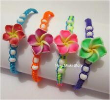 100 FRIENDSHIP BRACELETS with 14 mm CLAY CERAMIC PLUMERIA FLOWER