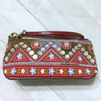 Isabella Fiore Wristlet Bag Embellished Floral Patchwork Embroidered Fall