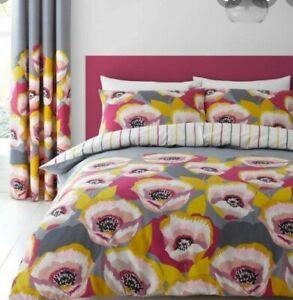 Catherine Lansfield grey pink poppy print single duvet set