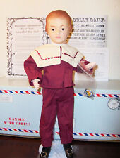ANTIQUE REPRODUCTION SCHOENHUT BOY 17in USPS STAMP WOOD JOINTED DOLL EXTRAS NRFB