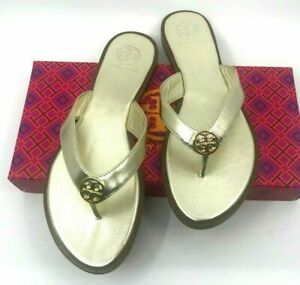 Tory Burch NEW Benton Spark Gold Leather Thong Sandals Flip Flops US Size 8