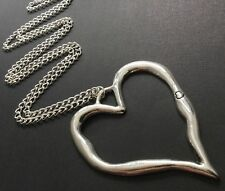 Very Large Statement Abstract Love Heart Chain Necklace Lagenlook