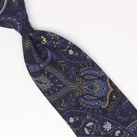 John G Hardy Mens Silk Necktie Navy Sky Blue Gold Ornate Paisley Print Italy Tie