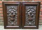 "2-Antique Carved Furniture Doors Panels Roman/Greek Armor Motif Solid Oak 241/4"""