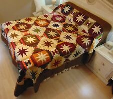 NEW! AMISH HANDMADE QUILT! ~ Stars over the Cabin ~ 99 x 113