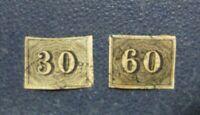 Sellos 2 Stamp Brazil  cifras 30-60 circa 1850 usado