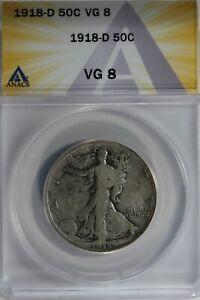 1918-D  50C ANACS VG8    Walking Liberty, Lady Liberty Half, 0.50