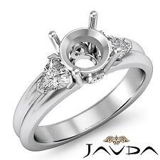 3 Stone Fine Diamond Trillion Round Mount Engagement Ring 14k White Gold 0.6Ct