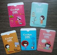 Korea Cooky Girl Cartoon Plastic Card Holder Cover: Party Gifts can hold 2 cards