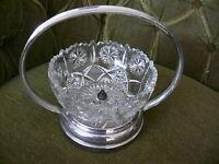 Art Deco Schale Schüssel ca. 1930 Pressglas  Messing verchromt mit Henkel