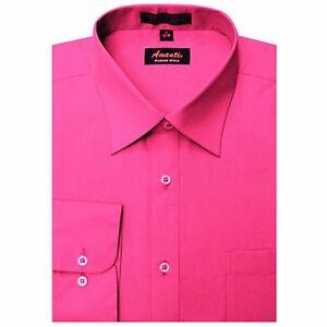 Mens Dress Shirt Fuchsia Hot Pink Modern Fit Wrinkle-Free Cotton Blend Amanti