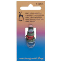 24 Pony Assorted flat Ring Markers mixed sizes fit upto 10mm knitting needles