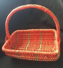Small Vintage Wicker Basket Raspberry Color With Green Stripes