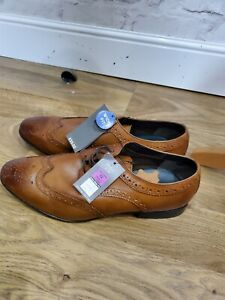 M&S Mens Leather Brogue Style Shoes. Size 12. Wide Fit. New With Tags.