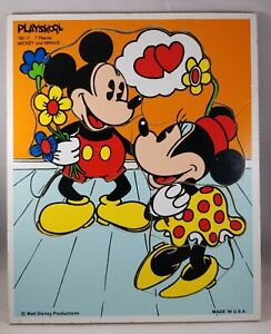 VIntage Playskool Disney Wooden Puzzles Mickey Mouse and Minnie