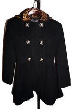 Versus Gianni Versace Pea Coat Hooded Leopard Wool/Alpaca 26/40 Authentic Small