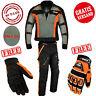 Motorradkombi Herren Motorrad Textil Kombi, Jacke und hose schwarz und orange