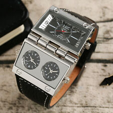 OULM Three Time Zone Movement Leather Band Strap Men Military Wrist Watch Gift